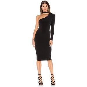 Nookie Girl Talk One Shoulder Midi Dress, Black
